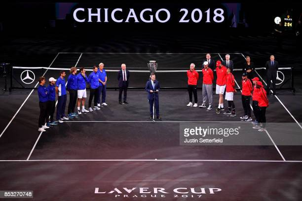 Team Europe and Team World line up with the Laver Cup trophy sowing Chicago as the next finl destination on the final day of the Laver cup on...