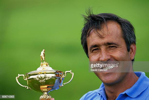 Team Europe captain Severiano Ballesteros with the Ryder Cup golf trophy after his team beat the USA at the Valderrama Golf Club in Sotogrande Spain...