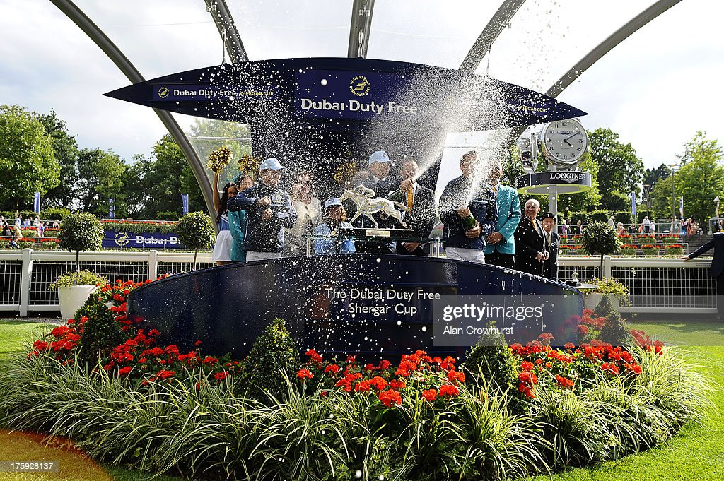Team Europe celebrate winning The Shergar Cup at Ascot racecourse on August 10, 2013 in Ascot, England.
