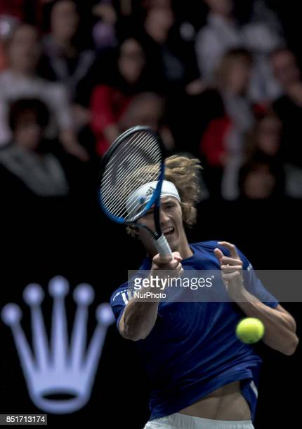 Team Europe player Alexander Zverev of Germany returns the ball to Team World player Denis Shapovalov of Canada during the first day at Laver Cup on...