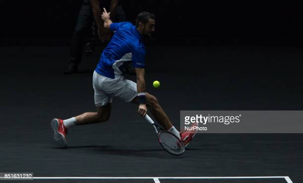Team Europe player Marin Cilic of Croatia wins over Team World player Frances Tiafoe of United States during the first day at Laver Cup on Sept 22...