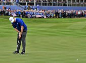 Team Europe's Stephen Gallacher of Scotland putts on the second green during Sunday's Singles matches on the final day of the Ryder Cup golf...