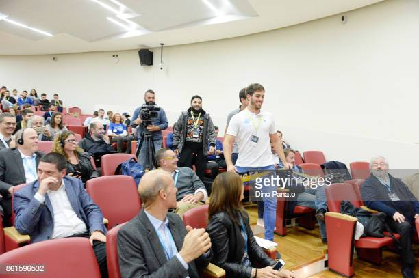 Team FBI celebrate during prize giving ceremony the second day of the Hackathon Event at the University of Letters on October 15 2017 in Trento Italy