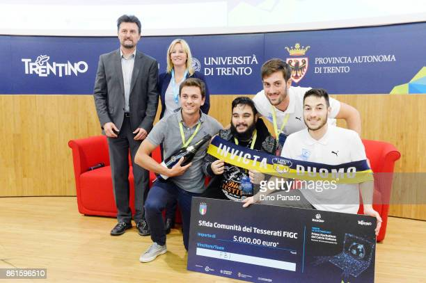 Team FBI during prize giving ceremony with Sara Ferrari Paolo Bouquet the second day of the Hackathon Event at the University of Letters on October...