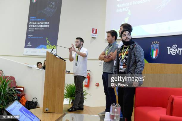 Team FBI Football Identity attend the second day of the Hackathon Event at the University of Letters on October 15 2017 in Trento Italy