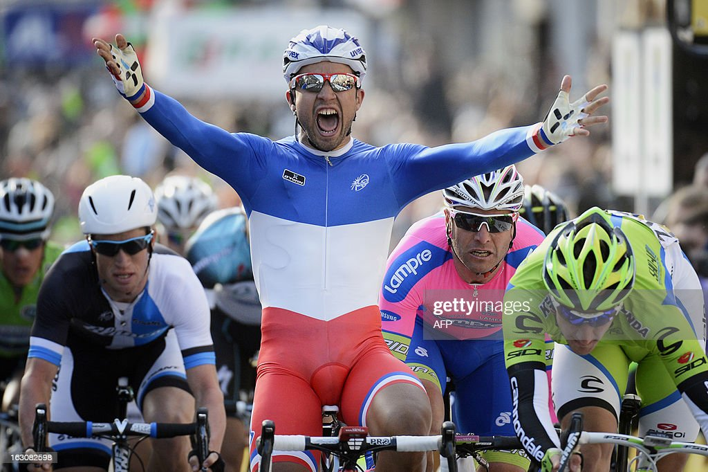 Team FDJ French cyclist Nacer Bouhanni celebrates as he wins the first stage of the 71st Paris-Nice cycling race between Saint Germain en Laye and Nemours, on March 4, 2013.