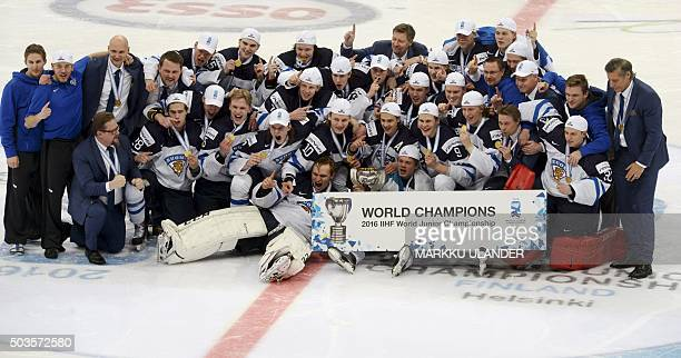 Team Finland celebrate winning the world championship at the end of the 2016 IIHF World Junior Ice Hockey Championship final match Finland vs Russia...