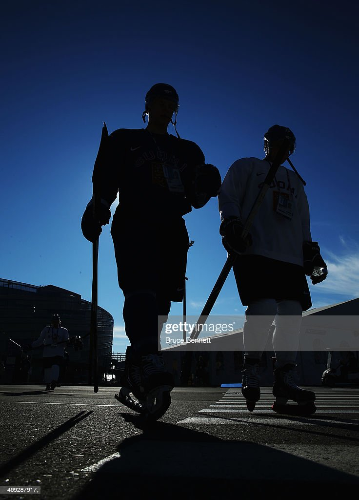 Team Finland walks to the arena on day seven of the Sochi 2014 Winter Olympics at Bolshoy Ice Dome on February 14, 2014 in Sochi, Russia.