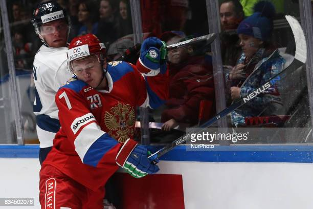 Team Finland's Joonas Nattinen and Team Russias Kirill Kaprizov in action during the Euro Hockey Tour game between Russia and Finland at the...