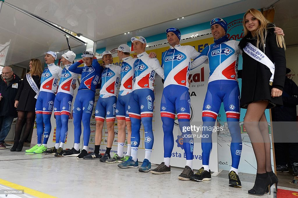 Team France de Jeux pose on the podium after the Team Time Trial on day one of the tour of 'La Mediterraneenne' on February 11, 2016 in Banyoles. / AFP / JOSEP LAGO