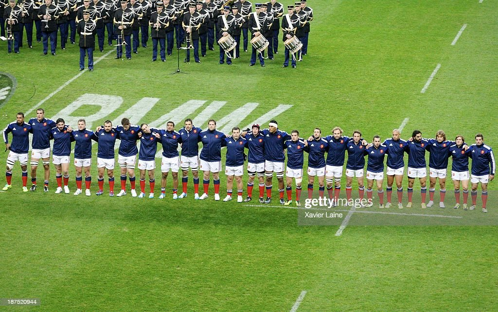 Team France before the international test match between France and the New Zealand All Blacks at Stade de France on November 9, 2013 in Paris, France.