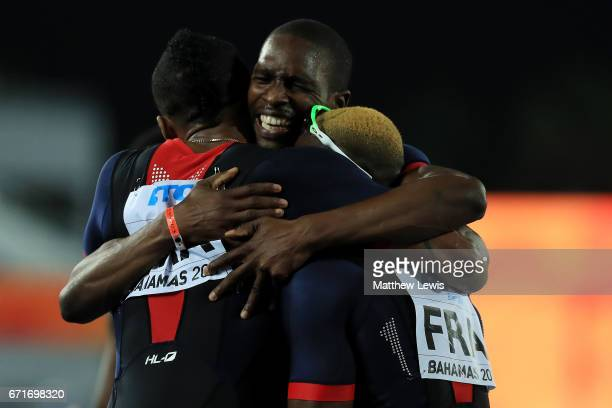 Team France celebrates after heat one of the Men's 4 x 400 Meters Relay during the IAAF/BTC World Relays Bahamas 2017 at Thomas Robinson Stadium on...