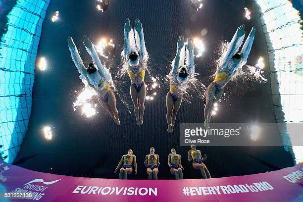 Team France compete in the Team Free Final on day five of the 33rd LEN European Swimming Championships 2016 at Aquatics Centre on May 13 2016 in...