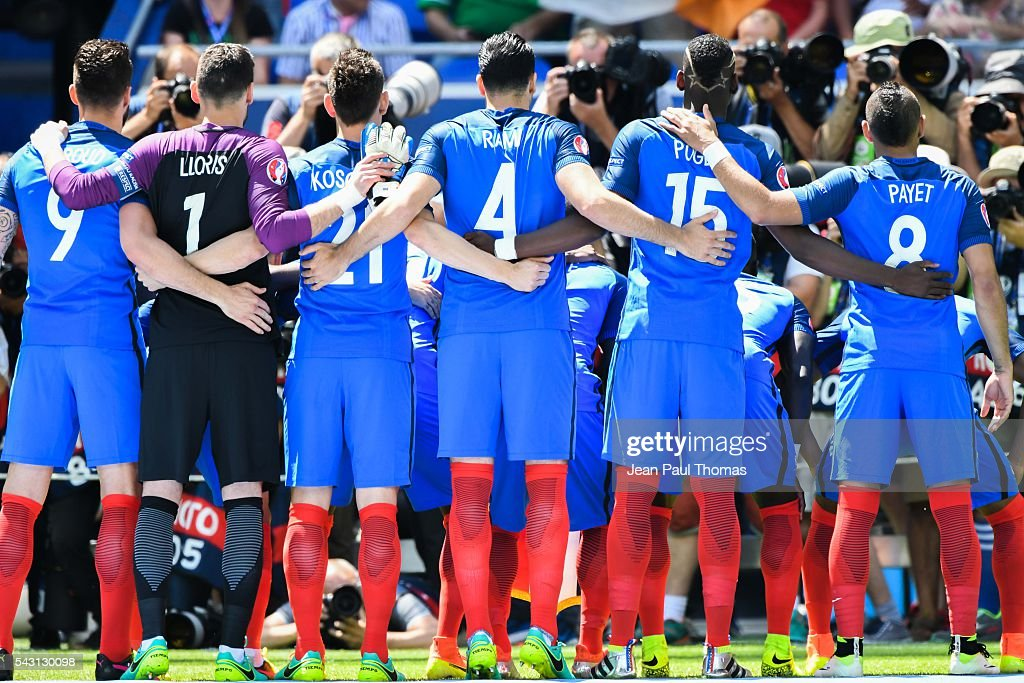 Team France during the European Championship match Round of 16 between France and Republic of Ireland at Stade des Lumieres on June 26, 2016 in Lyon, France.