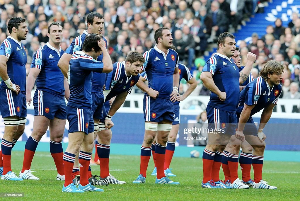 Team France is dispointed during the RBS 6 Nations match between France and Ireland at Stade de France on march 15, 2014 in Paris, France.