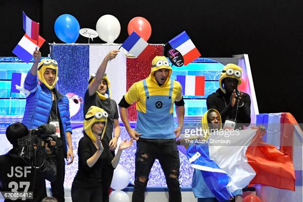 Team France is introduced at the opening ceremony during day one of the ISU World Team Trophy 2017 at Yoyogi National Gymnasium on April 20 2017 in...