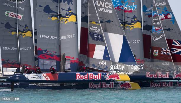 TOPSHOT Team France Jeune races in the Red Bull Youth Americas Cup June 21 2017 in Hamilton Bermuda Teams from Sweden France Great Britain Bermuda...