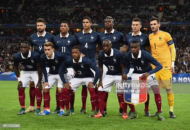 Team France pose for a photo prior to the International Friendly match between France and Germany at the Stade de France on November 13 2015 in Paris...