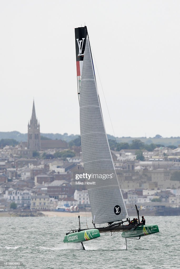 Team France, skippered by <a gi-track='captionPersonalityLinkClicked' href=/galleries/search?phrase=Franck+Cammas&family=editorial&specificpeople=773410 ng-click='$event.stopPropagation()'>Franck Cammas</a>, in action during Day One of the Louis Vuitton America's Cup World Series on July 23, 2015 in Portsmouth, England.