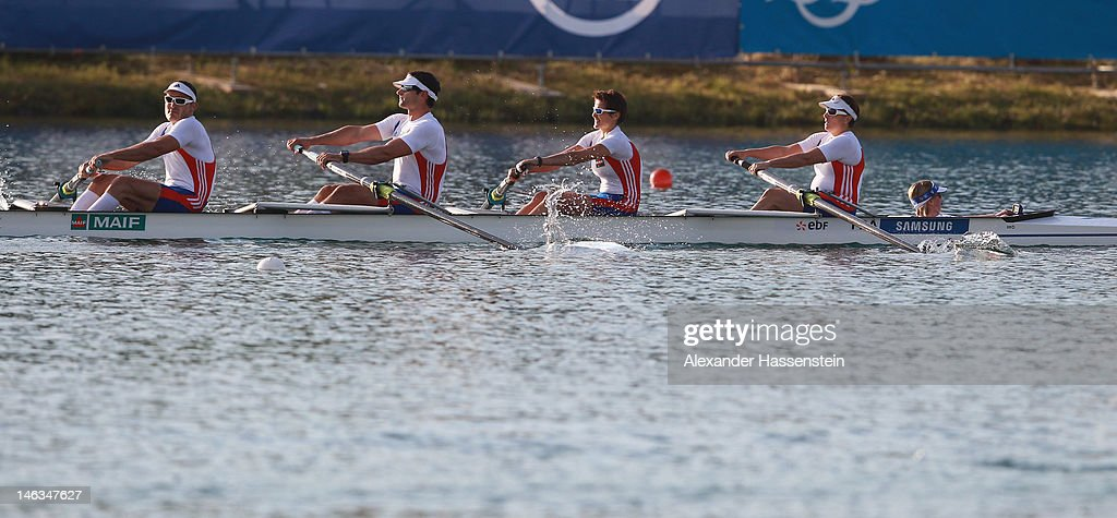 Team France with (R-L) Stephanie Merle, Corinne Simon, Antoine Jesel, Remy Taranto and Melanie Lelievre compete in the Adaptive Events Mixed Couxed Four heat during the 2012 Samsung World Rowing Cup III at the Ruderregattastrecke on June 14, 2012 in Munich, Germany.