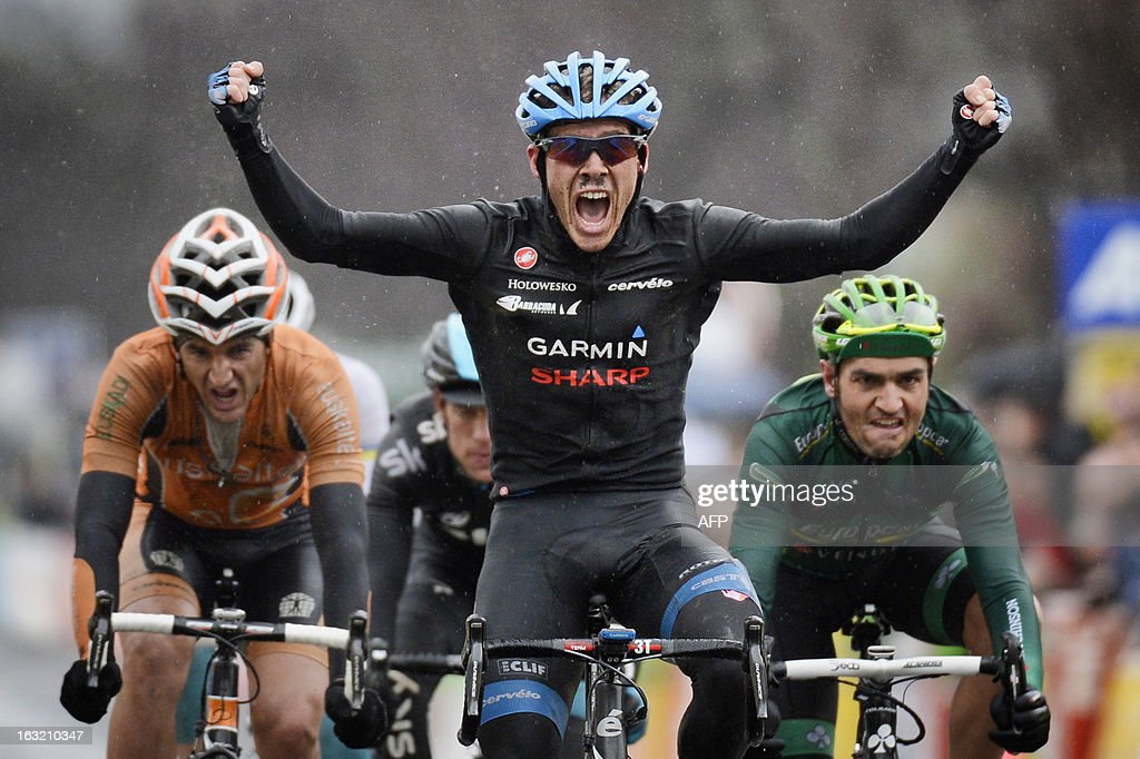 Team Garmin-Sharp's US cyclist Andrew Talansky celebrates as he crosses the finish line of the third stage of the 71st Paris-Nice cycling race between Chatel-Guyon and Brioude, on March 6, 2013.