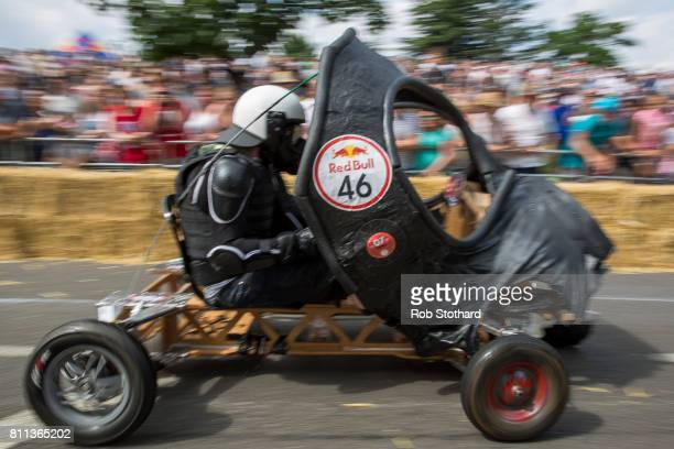 Team Gas Gas Gas races down the course during the Red Bull Soapbox Race at Alexandra Palace on July 9 2017 in London England The event in which...