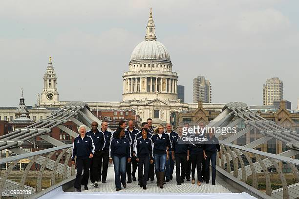 Team GB 2012 Ambassadors and Olympic legends Dame Mary Peters Kriss Akabusi Adrian Moorhouse Tessa Sanderson Roger Black Sir Steve Redgrave Dame...