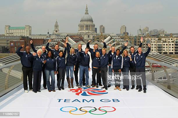 Team GB 2012 Ambassadors and Olympic legends Kriss Akabusi Dame Mary Peters Andrian Moorehouse Tessa Sanderson Roger Black Dame Kelly Holmes Sharron...