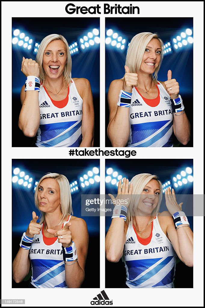 Team GB 400m runner <a gi-track='captionPersonalityLinkClicked' href=/galleries/search?phrase=Lee+McConnell&family=editorial&specificpeople=162784 ng-click='$event.stopPropagation()'>Lee McConnell</a> poses for pictures in the adidas photobooth during the adidas Team GB kitting out at Loughborough University on July 23, 2012 in London, England. The athletes are wearing the official adidas Team GB sweatbands which are available for £7 from shop.london2012.com.