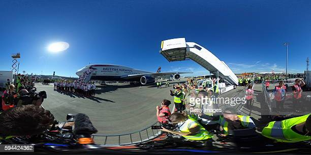 Team GB athletes disembark after arriving home at Heathrow Airport on August 23 2016 in London England The 2016 British Olympic Team arrived back to...