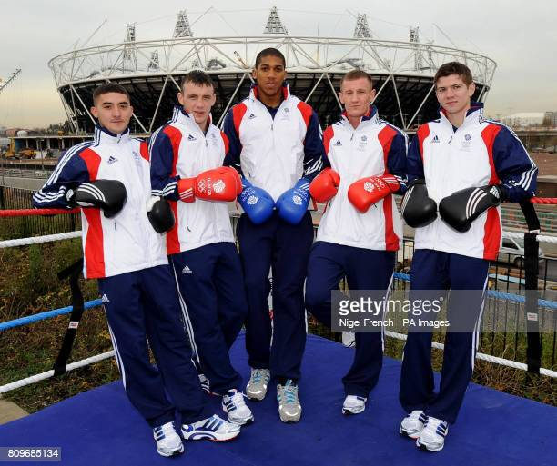 Team GB boxers Andrew Selby Fred Evans Anthony Joshua Tom Stalker and Luke Campbell pose for pictures outside the London 2012 Olympic stadium during...