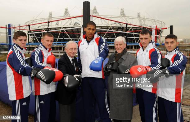 Team GB boxers Luke Campbell 1948 Olympian Tommy Proffitt Tom Stalker Anthony Joshua 1948 Olympian Ron Cooper Fred Evans and Andrew Selby pose...