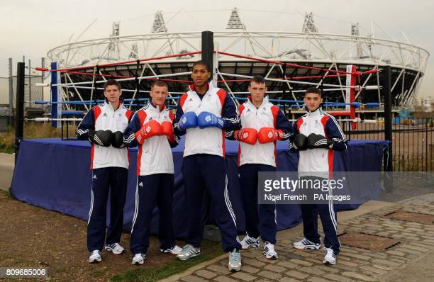 Team GB boxers Luke Campbell Tom Stalker Anthony Joshua Fred Evans and Andrew Selby pose outside the London 2012 Olympic stadium during the BOA...