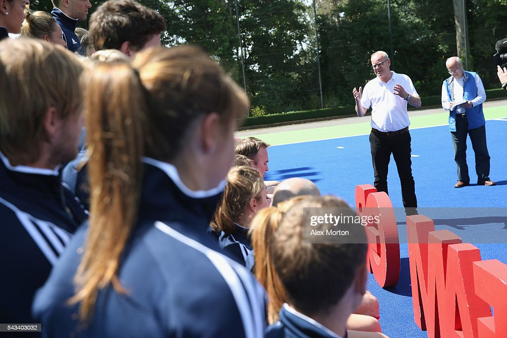 Team GB Chef de Mission Mark England speaks during the Announcement of Hockey Athletes Named in Team GB for the Rio 2016 Olympic Games at the Bisham Abbey National Sports Centre on June 28, 2016 in Marlow, England.