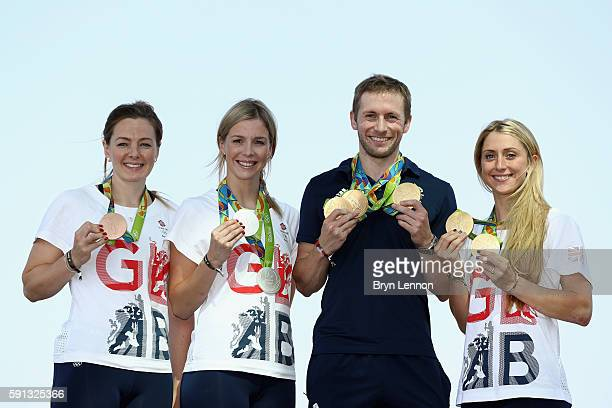 Team GB cyclists Katy Marchant Rebecca James Jason Kenny and Laura Trott pose with their gold medals at Adidas House on August 17 2016 in Rio de...