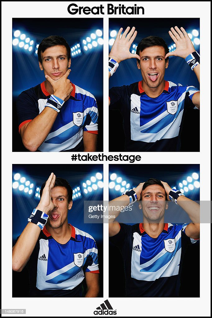 Team GB footballer <a gi-track='captionPersonalityLinkClicked' href=/galleries/search?phrase=Jack+Cork+-+Soccer+Player&family=editorial&specificpeople=4206991 ng-click='$event.stopPropagation()'>Jack Cork</a>, poses for pictures in the adidas photobooth during the adidas Team GB kitting out on July 1, 2012, at Loughborough University, England. The athletes are wearing the official adidas Team GB sweatbands which are available for £7 from shop.london2012.com.