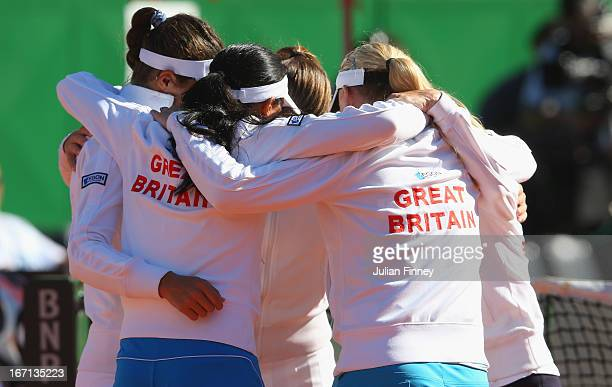 Team GB in a group huddle before play during day two of the Fed Cup World Group Two PlayOffs between Argentina and Great Britain at Parque Roca on...