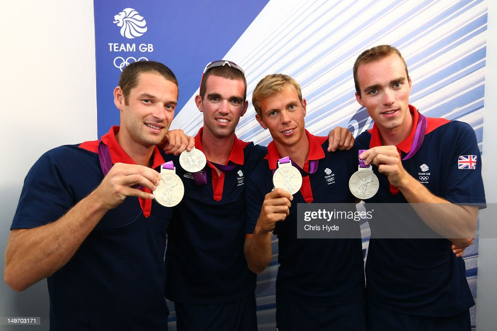 Team GB Lightweight Men's four Silver medalists (L-R) <a gi-track='captionPersonalityLinkClicked' href=/galleries/search?phrase=Chris+Bartley&family=editorial&specificpeople=1007112 ng-click='$event.stopPropagation()'>Chris Bartley</a>, Richard Chamber, Rob Williams and <a gi-track='captionPersonalityLinkClicked' href=/galleries/search?phrase=Peter+Chambers&family=editorial&specificpeople=5999099 ng-click='$event.stopPropagation()'>Peter Chambers</a> pose with their Silver Medals at Team GB House in Stratford on August 2, 2012 in London, England.