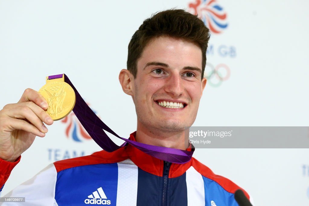 Team GB Men's Double Trap Shooting Gold medalist Peter Wilson poses with his Gold medal at Team GB House in Stratford on August 2, 2012 in London, England.