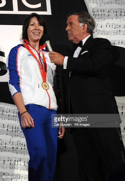 Team GB Olympic gold medalist Rebecca Romero with host Terry Wogan during the BBC Proms In The Park 2008 concert in Hyde Park central London