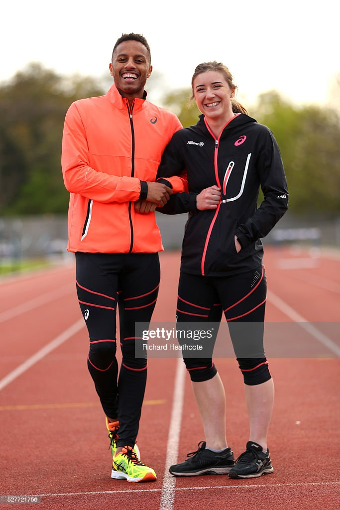 Team GB Paralympic sprinter Libby Clegg poses with her guide Chris Clarke at Loughborough University Athletics Stadium on May 03, 2016 in Loughborough, England. Libby, who only has slight peripheral vision in her left eye is aiming for her third Paralympics in Rio. Chris is trying to qualify for the main Rio 2016 Olympic Games as well as being Libby's guide.