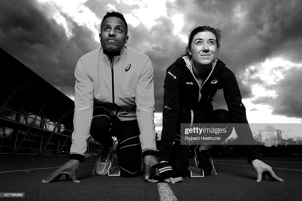 Team GB Paralympic sprinter <a gi-track='captionPersonalityLinkClicked' href=/galleries/search?phrase=Libby+Clegg&family=editorial&specificpeople=4307599 ng-click='$event.stopPropagation()'>Libby Clegg</a> poses with her guide Chris Clarke at Loughborough University Athletics Stadium on May 03, 2016 in Loughborough, England. Libby, who only has slight peripheral vision in her left eye is aiming for her third Paralympics in Rio. Chris is trying to qualify for the main Rio 2016 Olympic Games as well as being Libby's guide.