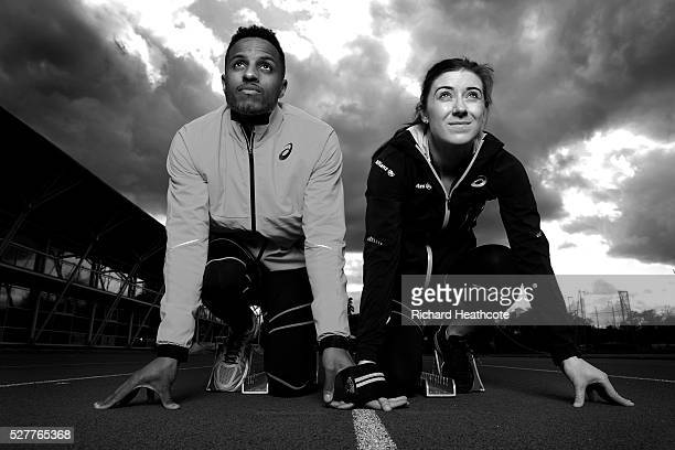 Team GB Paralympic sprinter Libby Clegg poses with her guide Chris Clarke at Loughborough University Athletics Stadium on May 03 2016 in Loughborough...