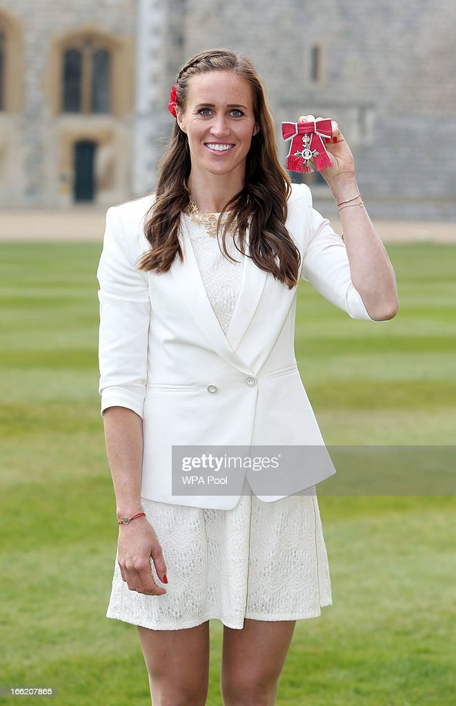 Team GB rower Helen Glover poses with her MBE after an Investiture ceremony at Windsor Castle on April 10, 2013 in Windsor, England.