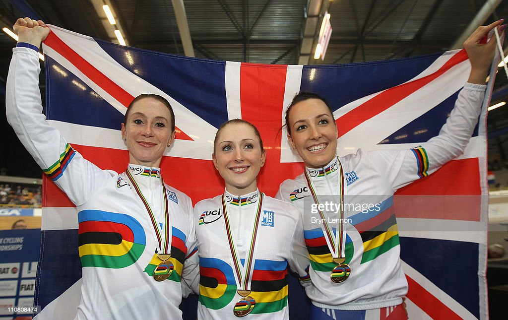 Team GB Women's Pursuit Team of <a gi-track='captionPersonalityLinkClicked' href=/galleries/search?phrase=Wendy+Houvenaghel&family=editorial&specificpeople=728708 ng-click='$event.stopPropagation()'>Wendy Houvenaghel</a>, <a gi-track='captionPersonalityLinkClicked' href=/galleries/search?phrase=Laura+Trott&family=editorial&specificpeople=7205074 ng-click='$event.stopPropagation()'>Laura Trott</a> and Danielle King celebrate winning the gold medal in the Women's Team Pursuit during day two of the UCI Track World Championship at the Omnisport arena on March 24, 2011 in Apeldoorn, Netherlands.