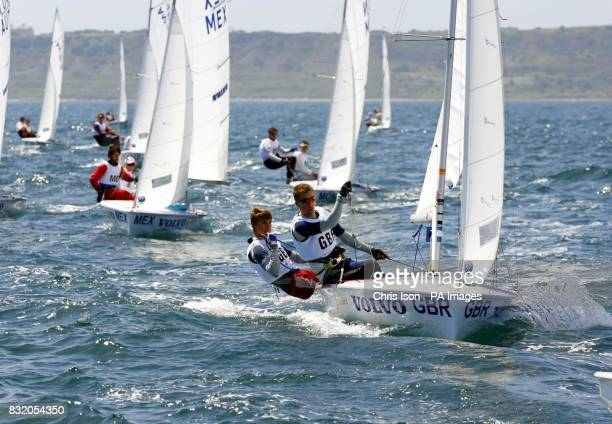Team GBR 420 class sailors Richard Mason at the helm and crew Daniel Schieber in action at the Volvo Youth Sailing ISAF World Championship's at the...
