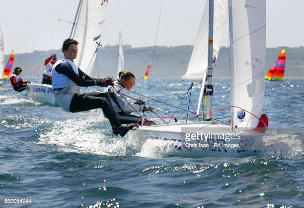 Team GBR 420 sailors Katrina Hughes and Sophie Weguelin in action at the Volvo Youth Sailing ISAF World Championship's at the Weymouth and Portland...