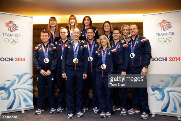Team GB's medal winners including Lizzy Yarnold David Murdoch and Eve Muihead pose for a picture during the Team GB Welcome Home Press Conference at...