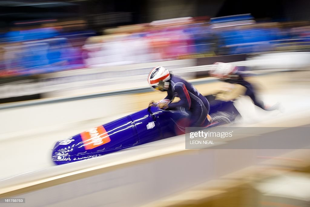 Team GB's Victoria Olaoye (L) and Kelly Denyer take part in the first run during the Women's Bobsleigh competition at the Sanki Sliding Centre, some 50 km from Russia's Black Sea resort of Sochi, on February 15, 2013. With a year to go until the Sochi 2014 Winter Games, construction work continues as tests events and World Championship competitions are underway.