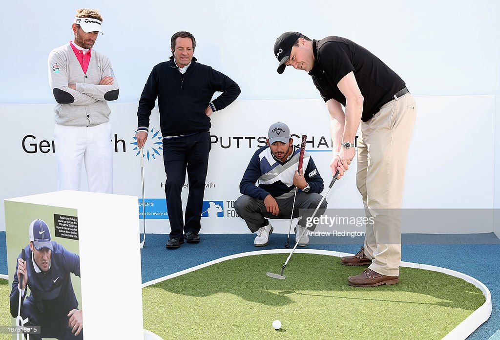 Team Genworth member Robin Hyndley (Global Reinsurance Director Genworth) putts whilst watched by (L-R) Raphael Jacquelin, David Williams and Pablo Larrazabal during the Genworth Putts4Charity Challenge Series at the Ballantine's Championship at Blackstone Golf Club on April 26, 2013 in Icheon, South Korea.
